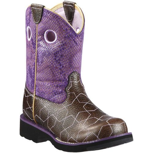 10011889 Youth Star Struck Western Ariat Fatbaby Boots - Purple