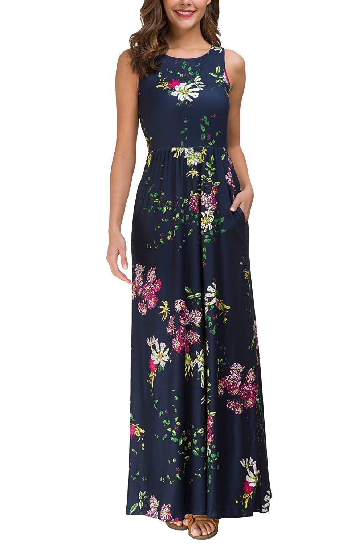 2d211eb189 Zattcas Maxi Dresses for Women,Womens Crew Neck Sleeveless Summer Floral Maxi  Dress with Pockets