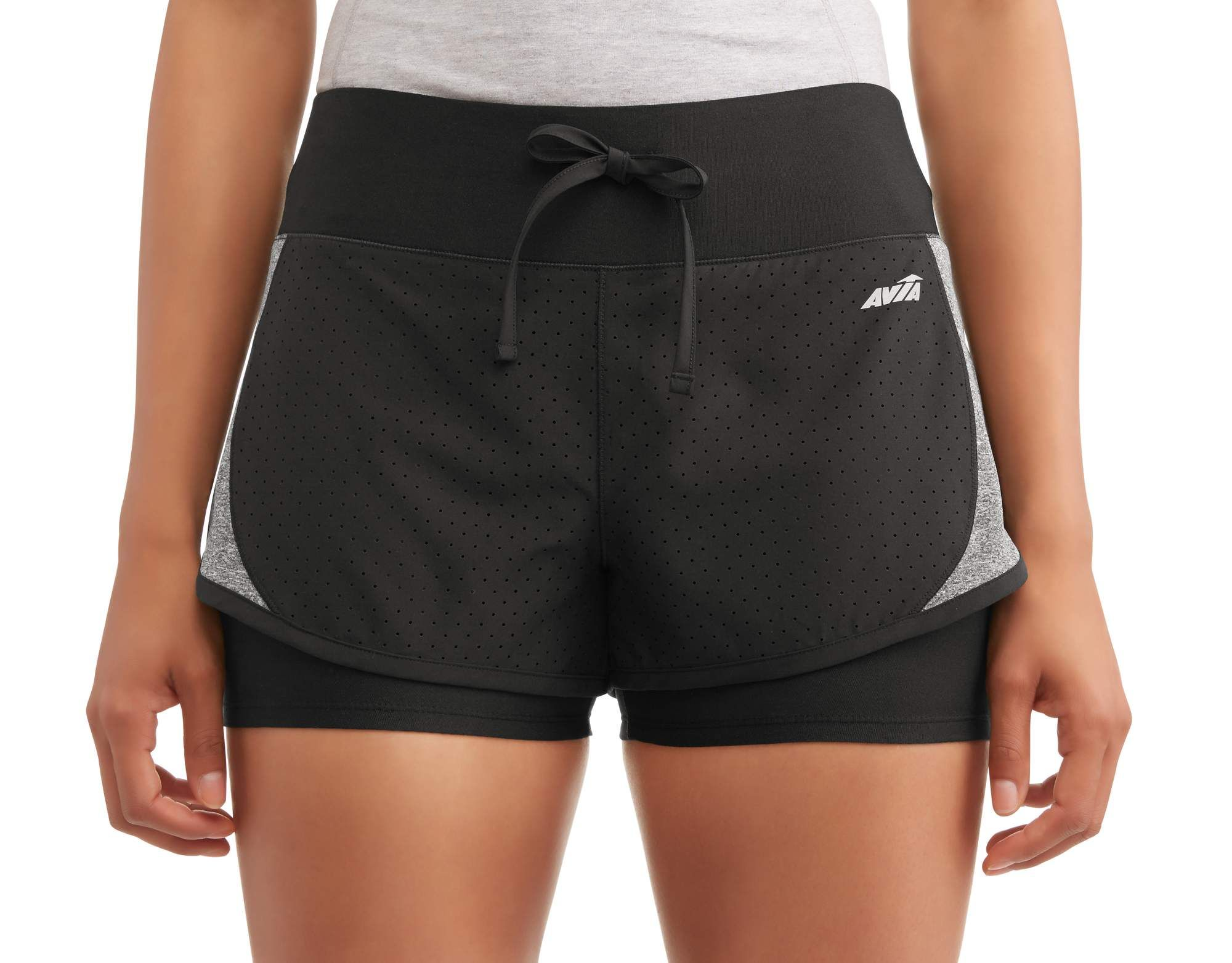 Women S Active Perforated Running Shorts With Built In Compression Shorts Perforated Active Women Running Shorts Compression Shorts Active Women