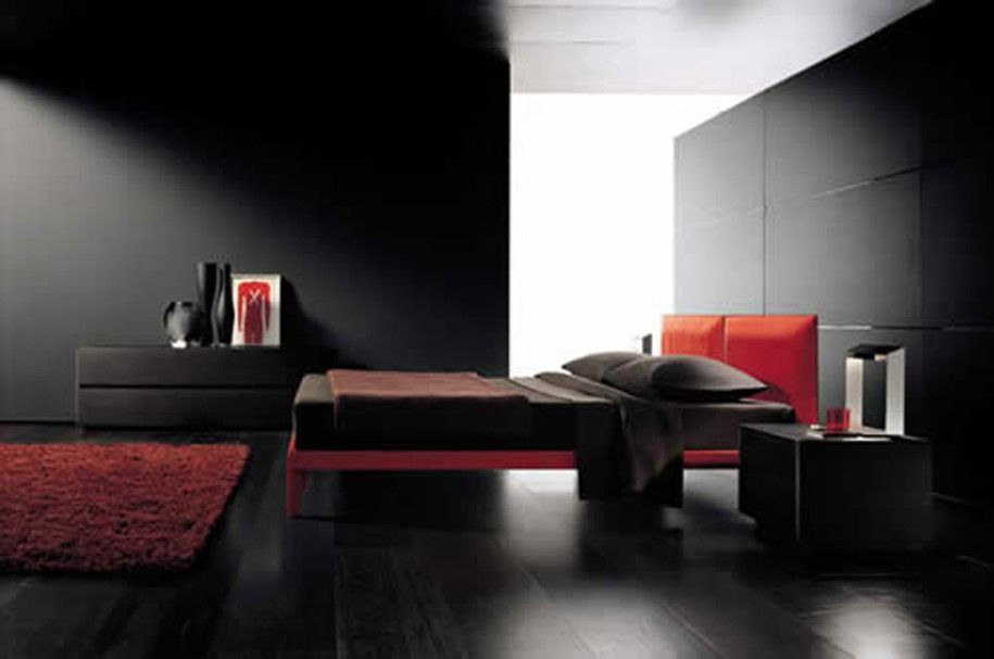 Black Hardwood Flooring in Bedrooms | ... Black Red Bedroom Wall With  Pillow Blanket