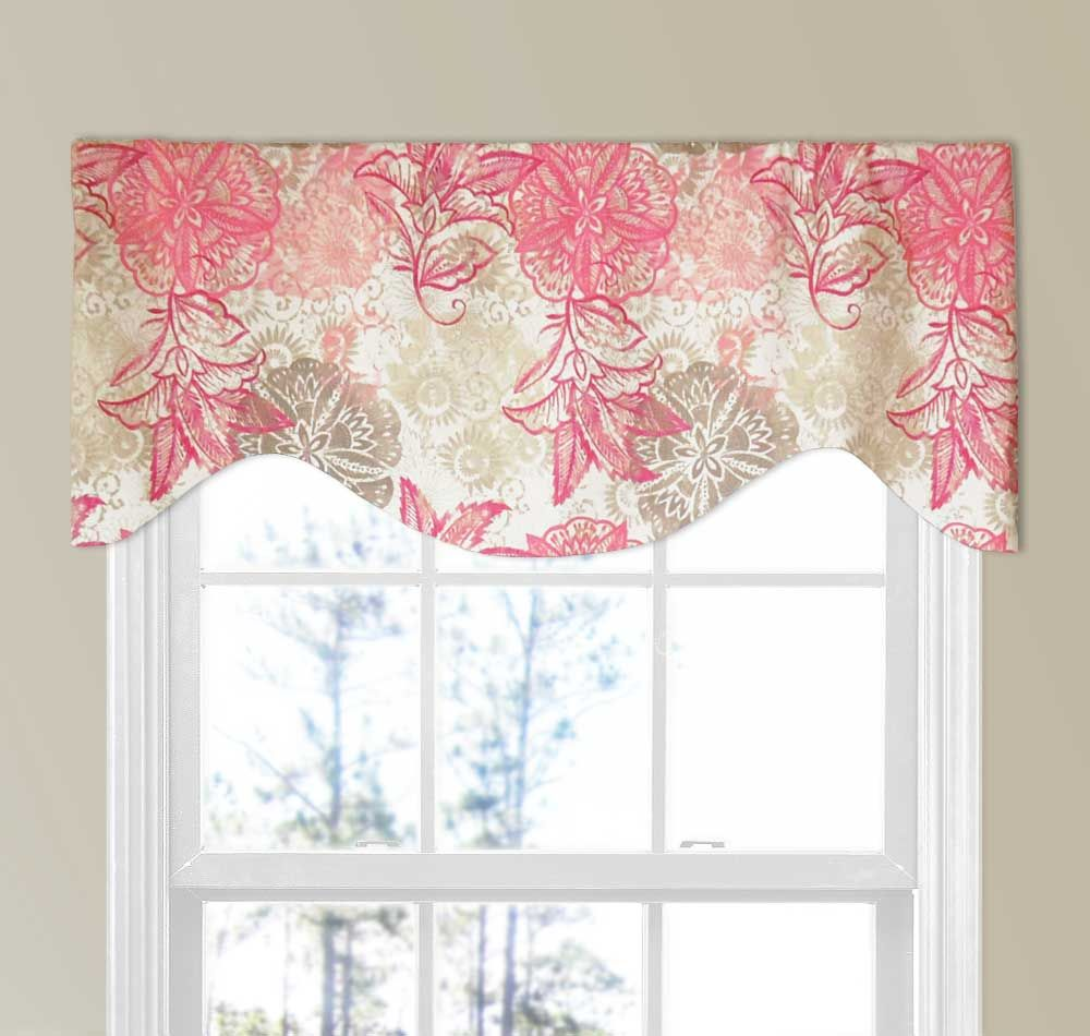 Contemporary Flowers Valance In Raspberry Pink And Pebble