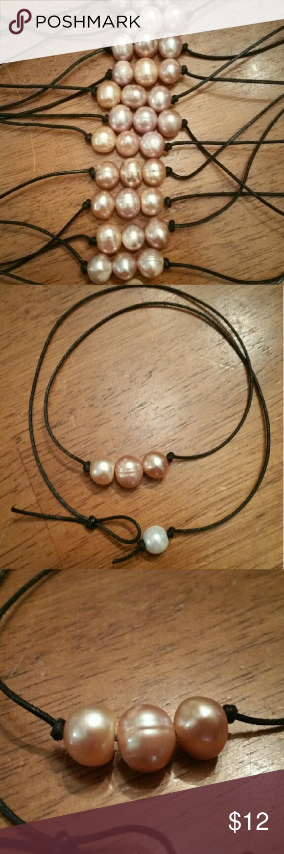 "18"" Triple wish FRESHWATER PEARL CHOKER NECKLACE Longer 18"" length  NATURAL freshwater pearls. They are not painted or colored. So their coloring us not even in some areas, that is just their natural color!   THE BEAD ON THE CLOSURE IS GLASS PEARL. LARIAT STYLE SLIPKNOT CLOSURE   PRICE IS FOR ONE.  $12 EACH , discount for more then 1.  PLEASE ASK QUESTIONS BEFORE BUYING  CHECK OUT MY OTHER ADS FOR OTHER HANDMADE ITEMS  BUNDLE & SAVE! handmade  Jewelry Necklaces"