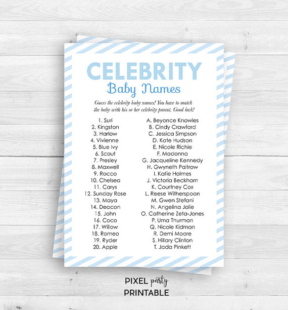 Blue Stripes Celebrity Baby Names Game Baby By Thecherrypaper Celebrity Baby Names Baby Name Game Celebrity Babies