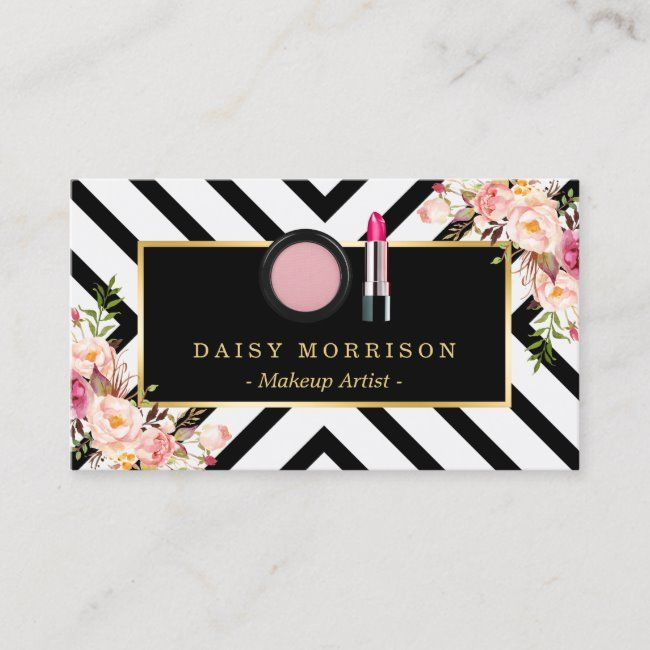 Makeup Artist Lipstick Cosmetics Floral Stripes Business Card | Zazzle.com