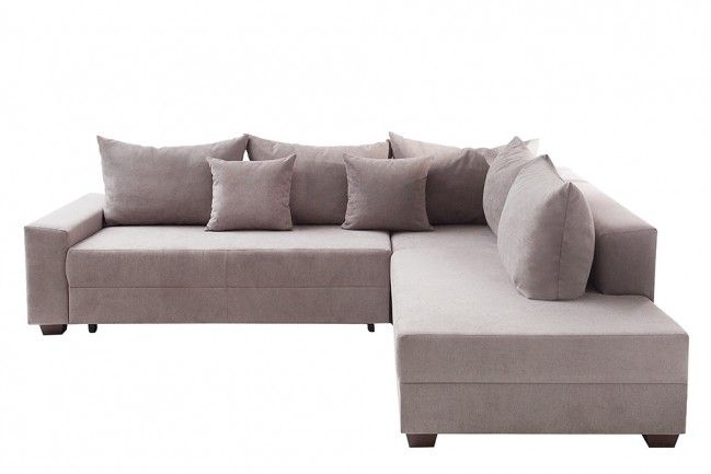 Design Ecksofa Apartment Soft Baumwolle Greige Federkern Sofa