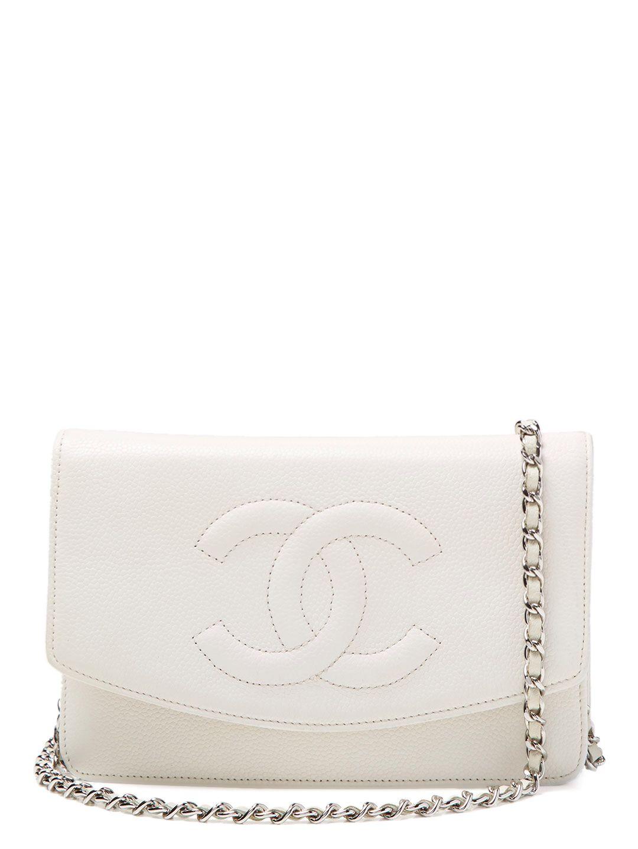 86741957415293 Chanel Chanel Cream Caviar CC Wallet On Chain (WOC) $1900 Vintage on Gilt