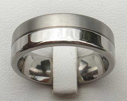 Half Polished Half Matt Titanium Wedding Ring UK