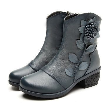 b76baa4d6ef74 Designer SOCOFY Vintage Ankle Flower Pattern Stitching Zipper Leather Boots  - NewChic Mobile.