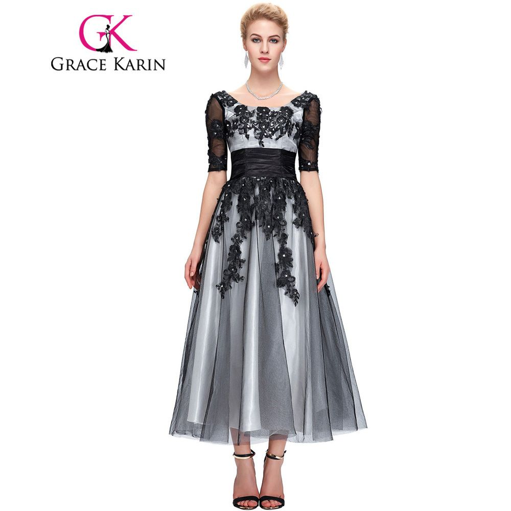 Long lace evening dresses elegant half sleeve womenus fashion