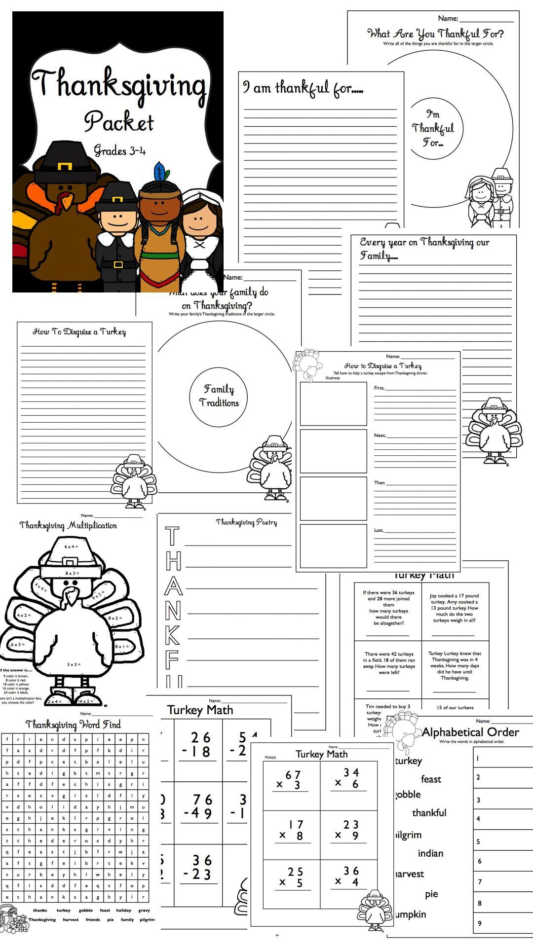 Thanksgiving Packet Writing & Math Grades 3-4 (17 pages!) $4 | 4th ...
