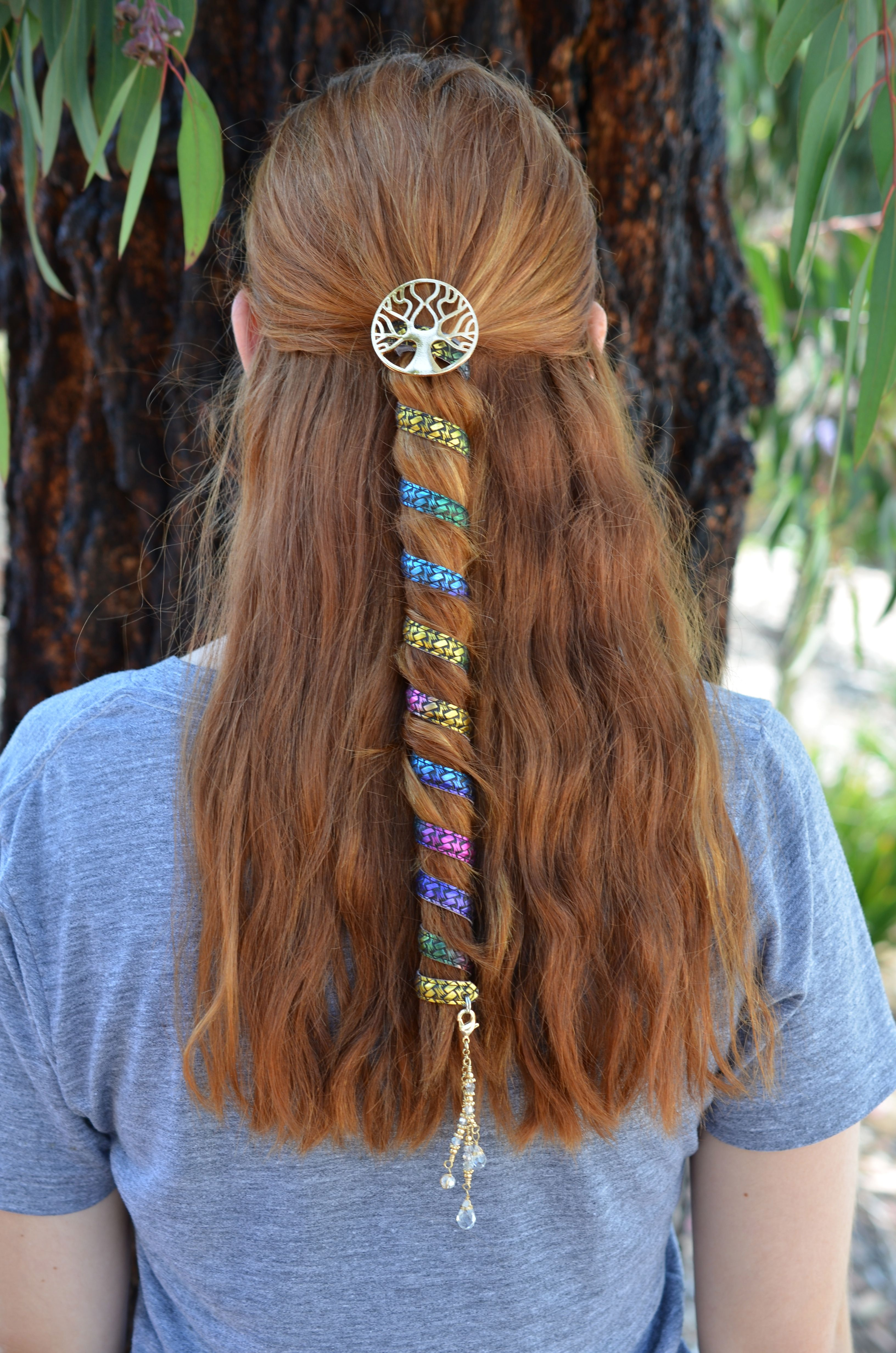 Ponytail Wrap Rainbow Woven Leather  12 Inch Ponytail Holder is part of Ponytail wrap, Hair scarf styles, Headband hairstyles, Hair twisters, Scarf hairstyles, Shaved hair designs -