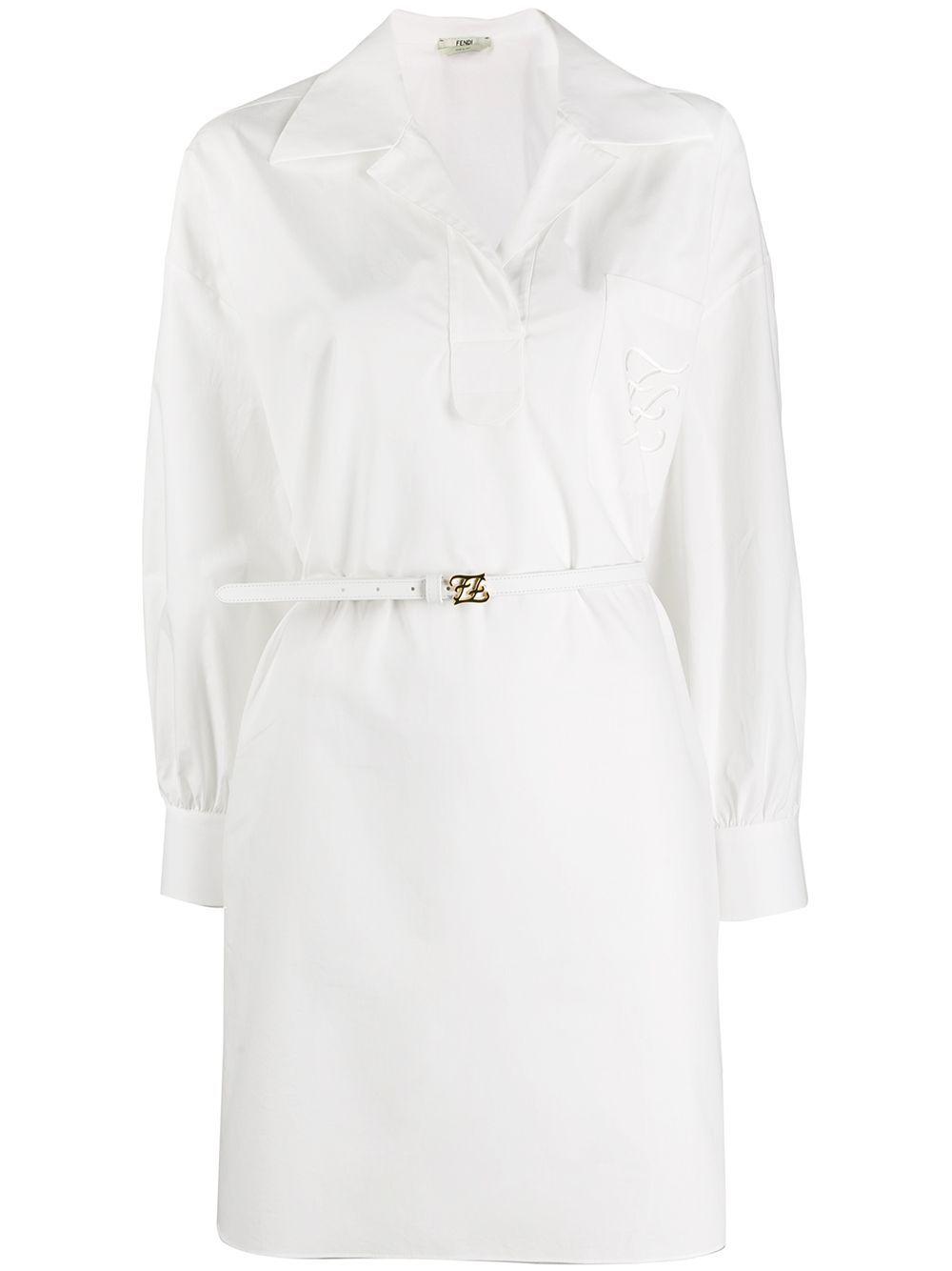 Fendi Karligraphy Motif Asymmetric Shirt Dress Farfetch Fendi Dress White Cotton Shirt Dress Fendi Clothing [ 1334 x 1000 Pixel ]