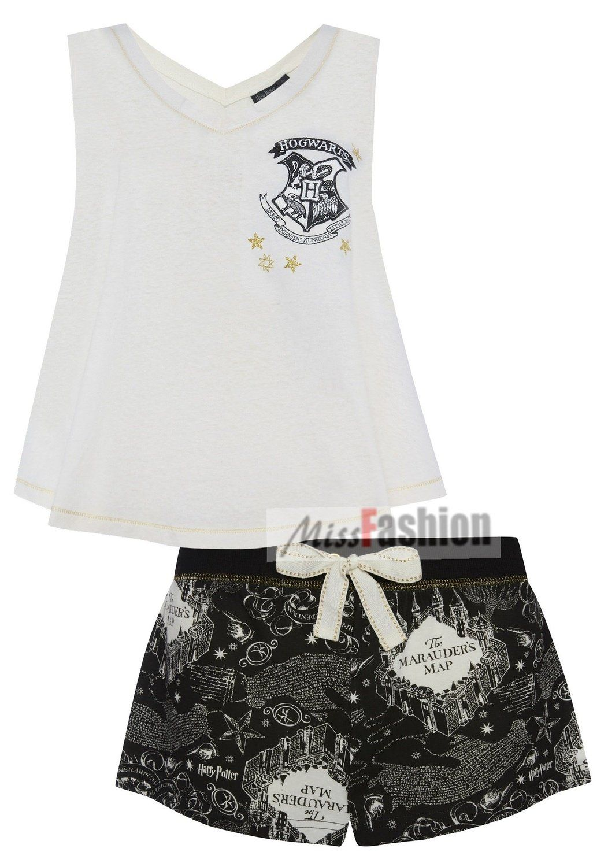 b90e978140150 Ladies Girls Harry Potter HOGWARTS MARAUDERS MAP Pyjama Set vest and  shorts: Amazon.co.uk: Clothing