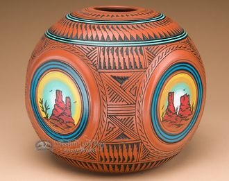 """American Indian Navajo Pottery Vase 9.5"""""""" Rounded Square (p258)"""