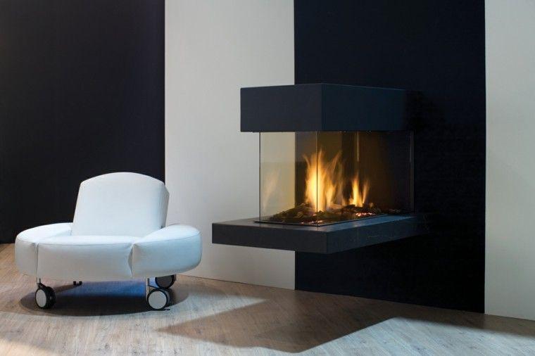 diseño chimeneas modernas sofa blanco fuego Interiores con - chimeneas modernas