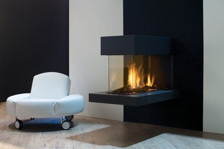 diseo chimeneas modernas sofa blanco fuego