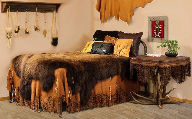 native american bedroom furniture buckskin rendezvous elk hide and antler table bedding. Black Bedroom Furniture Sets. Home Design Ideas