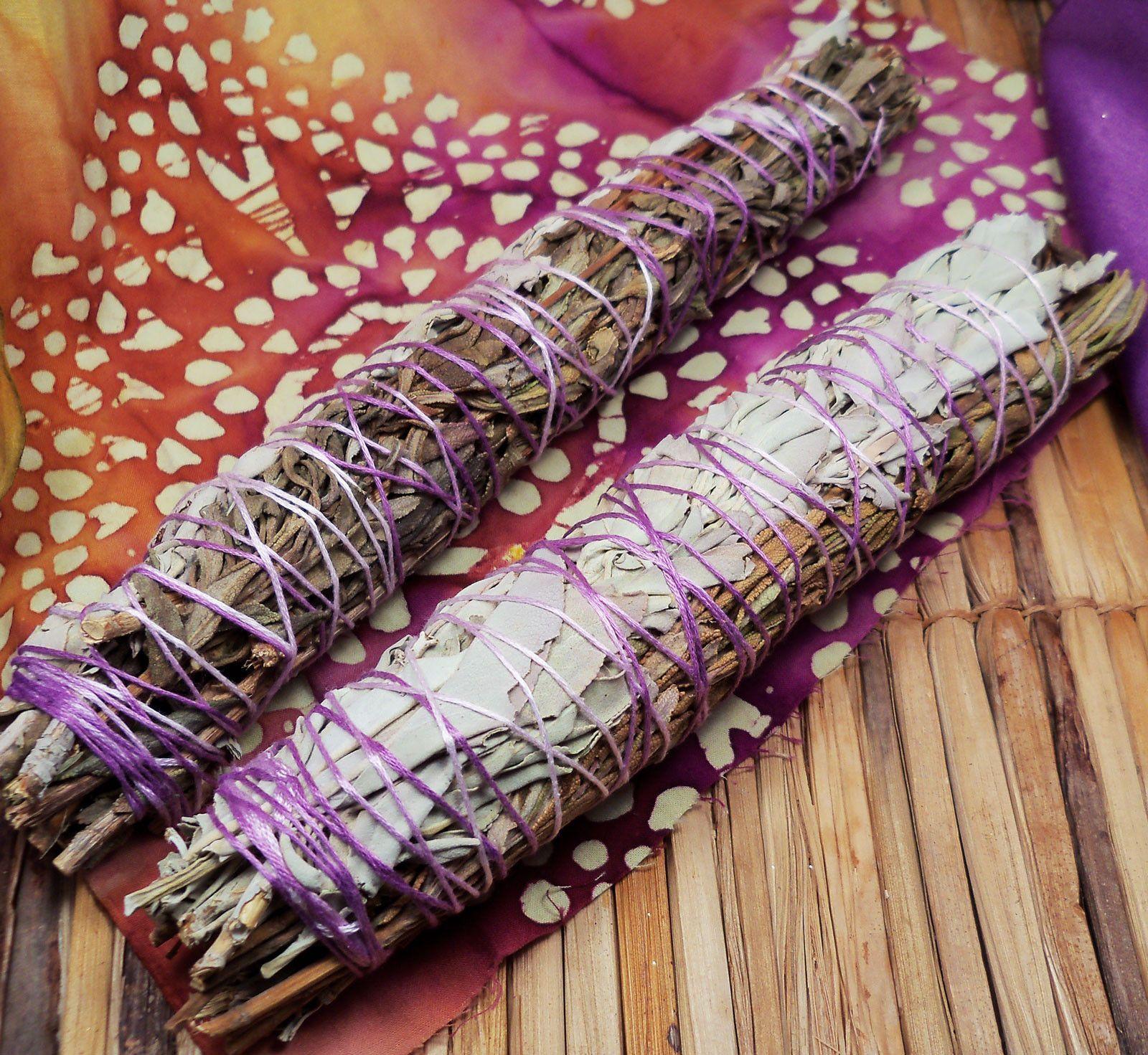 Lavender sage smudge stick peace blend lavender white