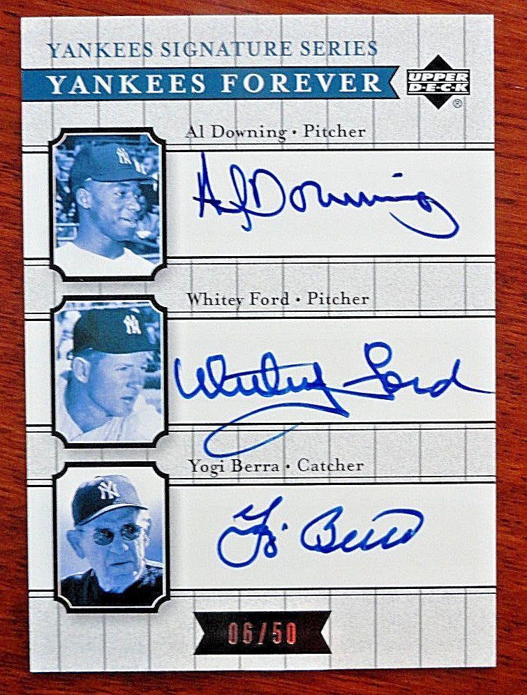 Al Downing Whitey Ford Yogi Berra 2003 Upper Deck Yankees Forever Autograph 6/50