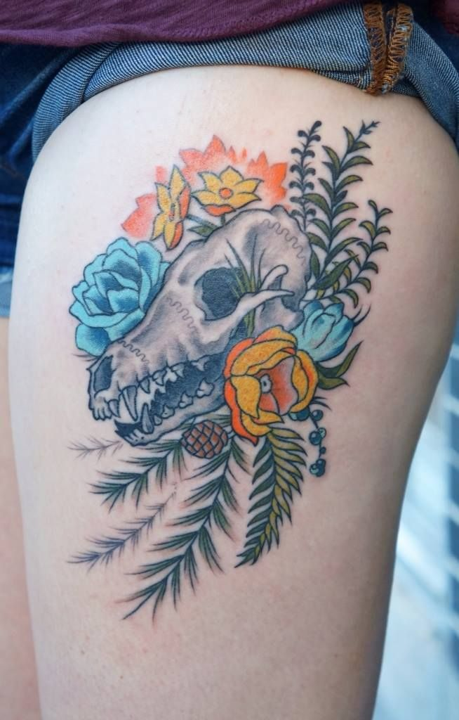 Dog Skull and Flowers Tattoo Inspiration