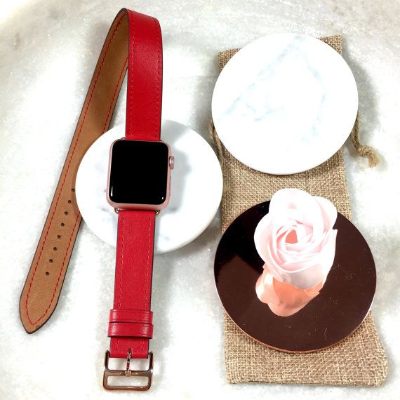 Red Hand Stitched Apple Watch Leather Double Tour Band Double Wrap Apple Watch Band A Apple Watch Bands Leather Apple Watch Bands Rose Gold Apple Watch Bands