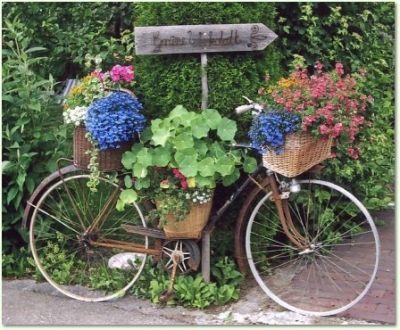 Flowers everywhere garten pinterest - Gartendeko fahrrad ...