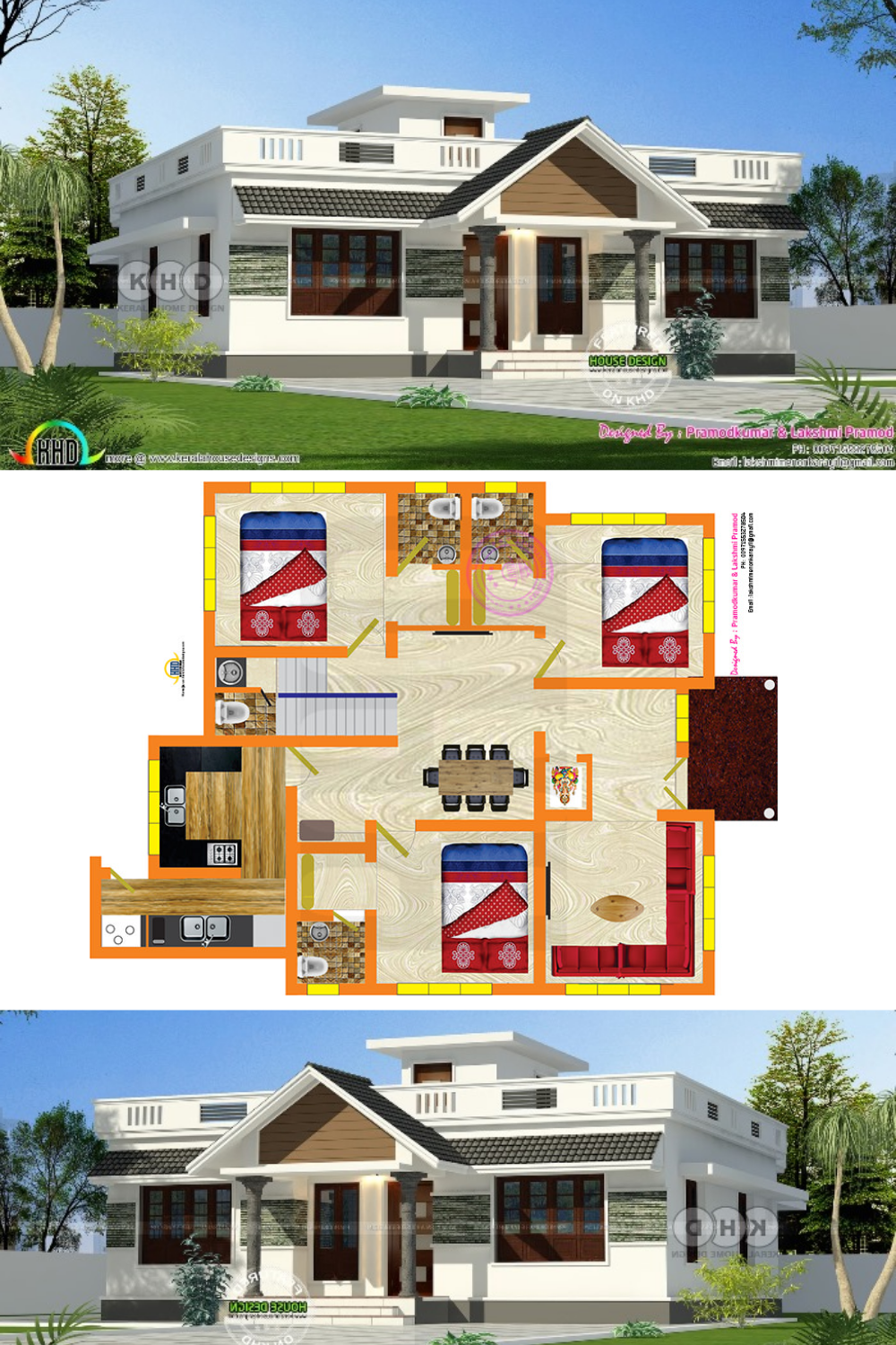 Stunning Three Bedroom Bungalow With Roof Deck In 2020 House Plan Gallery Home Design Floor Plans Best House Plans