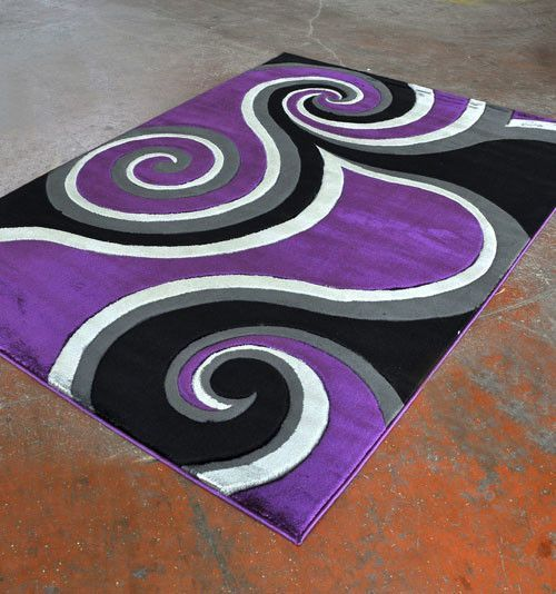 Power Loom Purple Black Rug In 2020 Purple Area Rugs Purple Room Decor Purple And Black