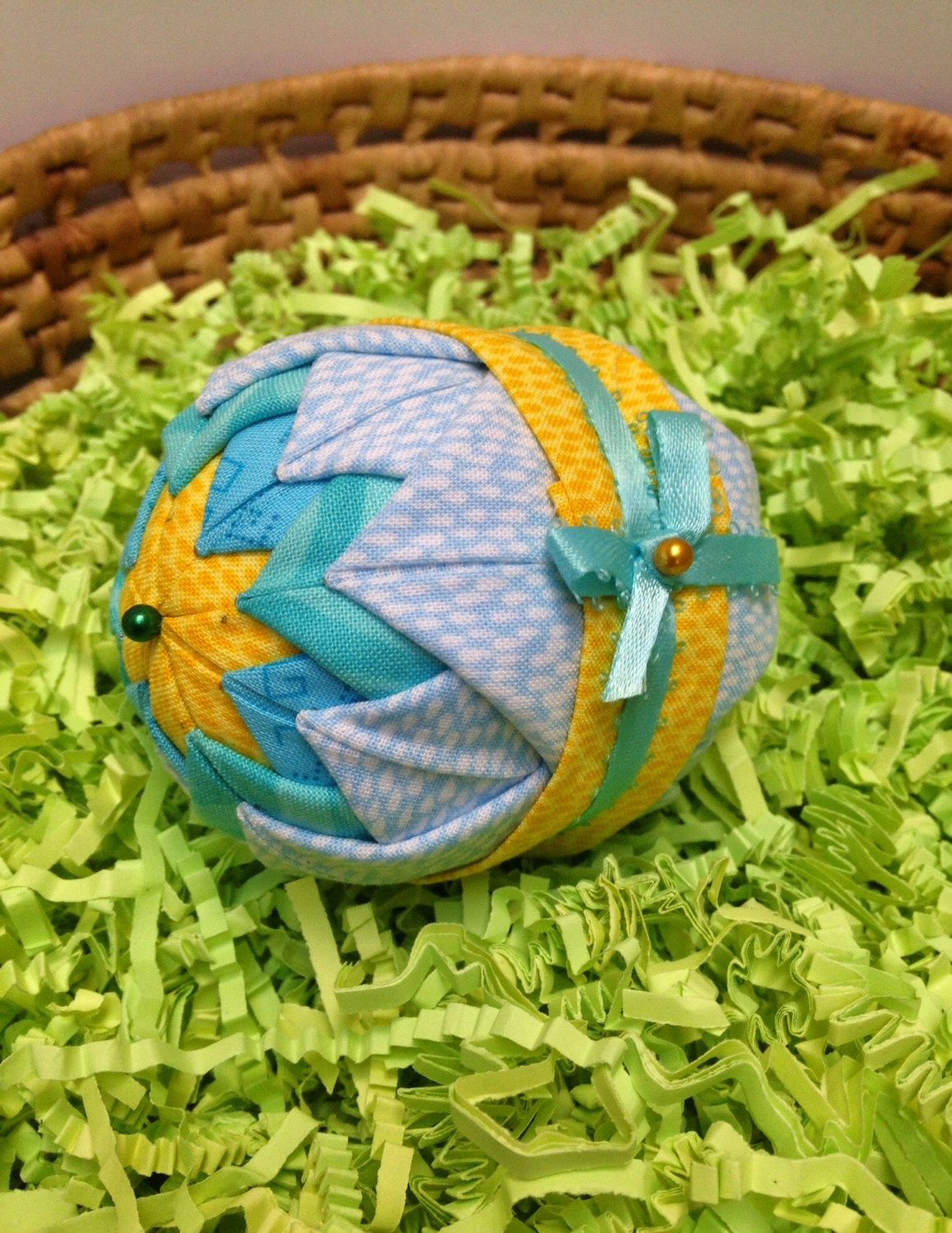 Folded fabric ornament quilted holiday ornament turquoise folded fabric quilted easter egg in purples and lavenders with full bow by mulberrypatchquilts on etsy negle Gallery