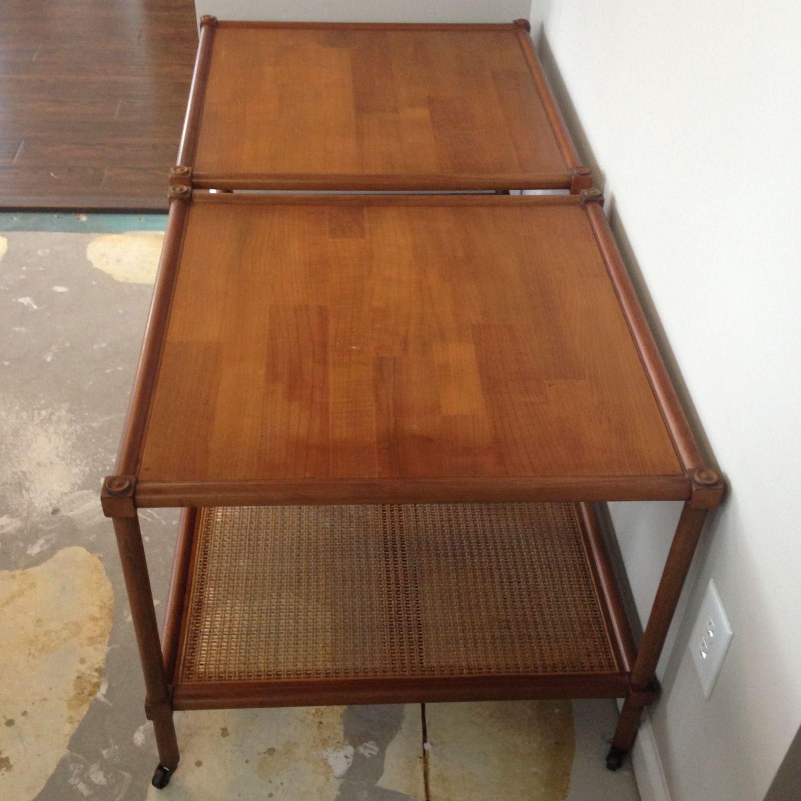 Image Of Vintage Cane Coffee Tables On Rollers A Pair