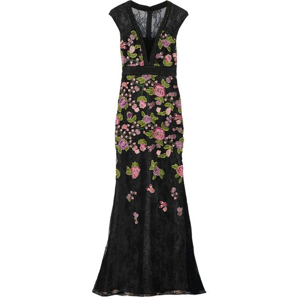 Badgley Mischka Floral-appliquéd lace gown (£404) ❤ liked on ...