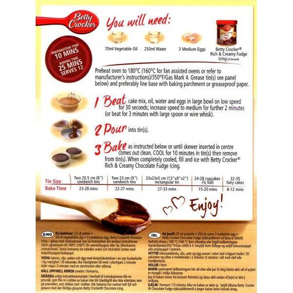 betty crocker yellow cake mix instructions