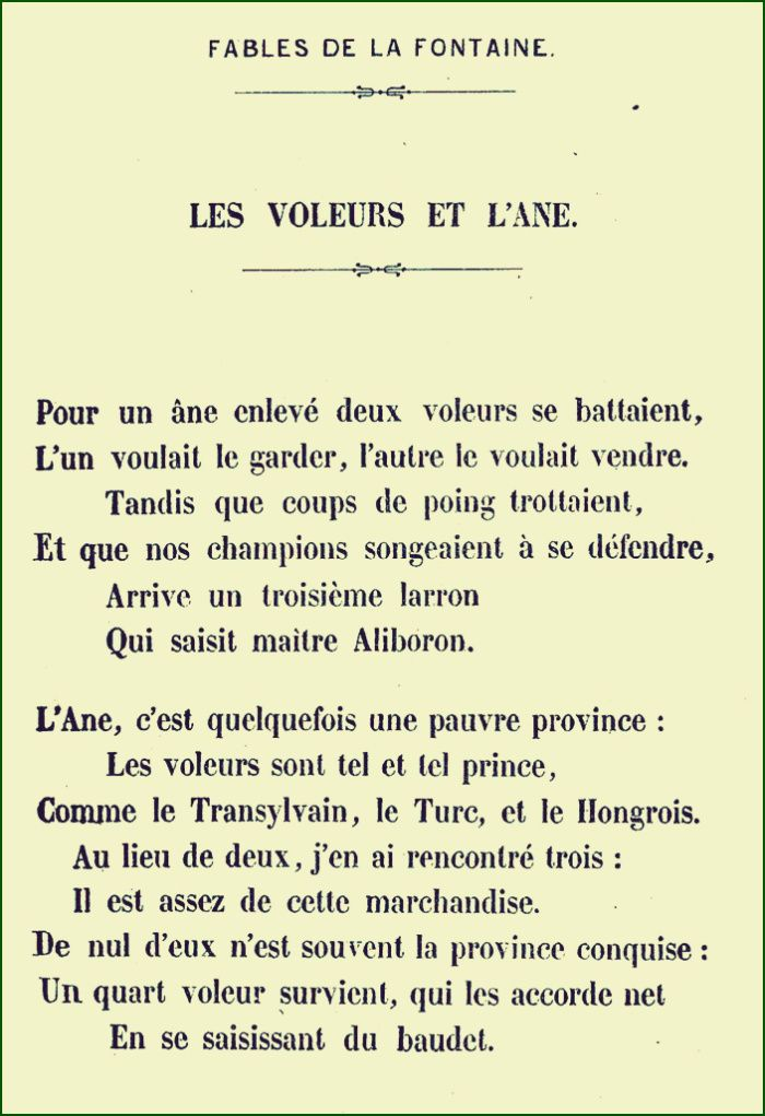 La Fontaine Les Voleurs Et Lâne Les Fontaines Poeme Et