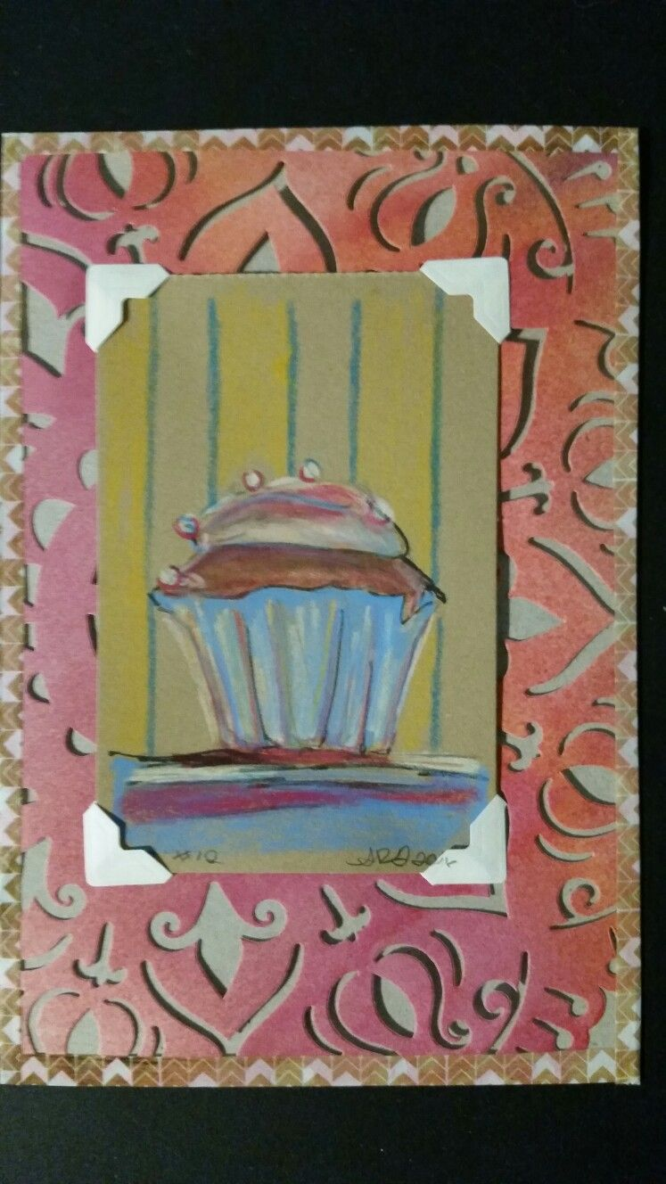 Cupcake colored pencil on kraft paper. by Amber Gardner dragonflypoppy@gmail.com