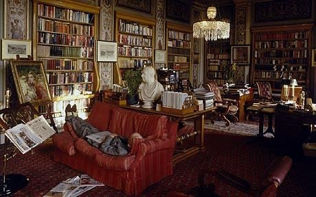 The Duke of Devonshire takes a nap in the Lower Library of Chatsworth House, 1995