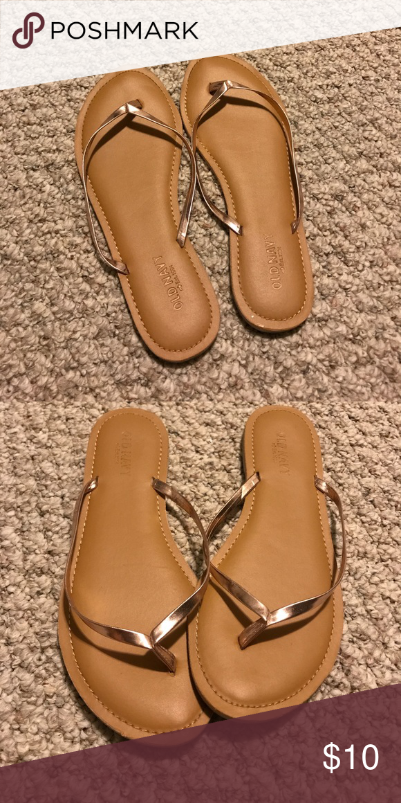 76cdf1ceb55 Rose gold strap flip flop Old navy comfortable padded flip flop with rose  gold colored straps! Never been worn out! Old Navy Shoes Sandals