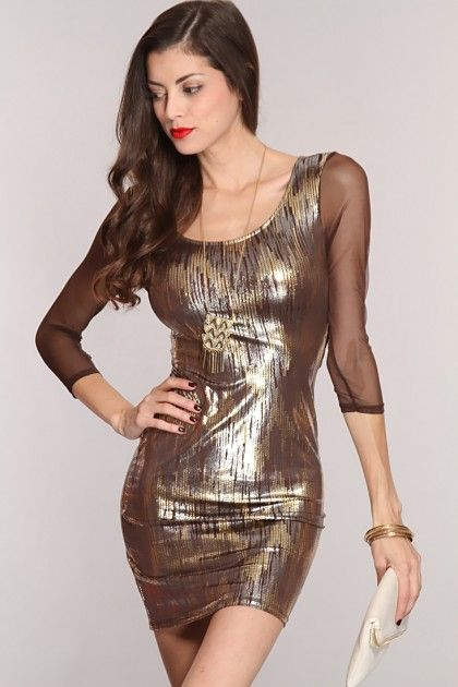 Brown Multi Shimmery Sequin Print Cut Out Sexy Dress