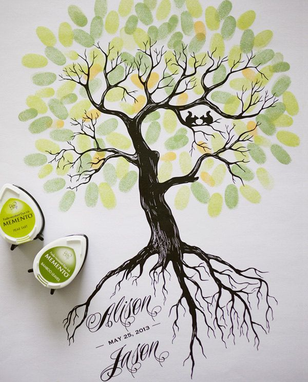 Guest Book For Baby Shower Same Thumbprint Ink Colors Grey Tree