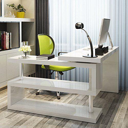 New Siena White High Gloss Computer Pc Home Executive Study Office Corner Desk White Corner Computer Desk Home Office Furniture Office Desk Designs