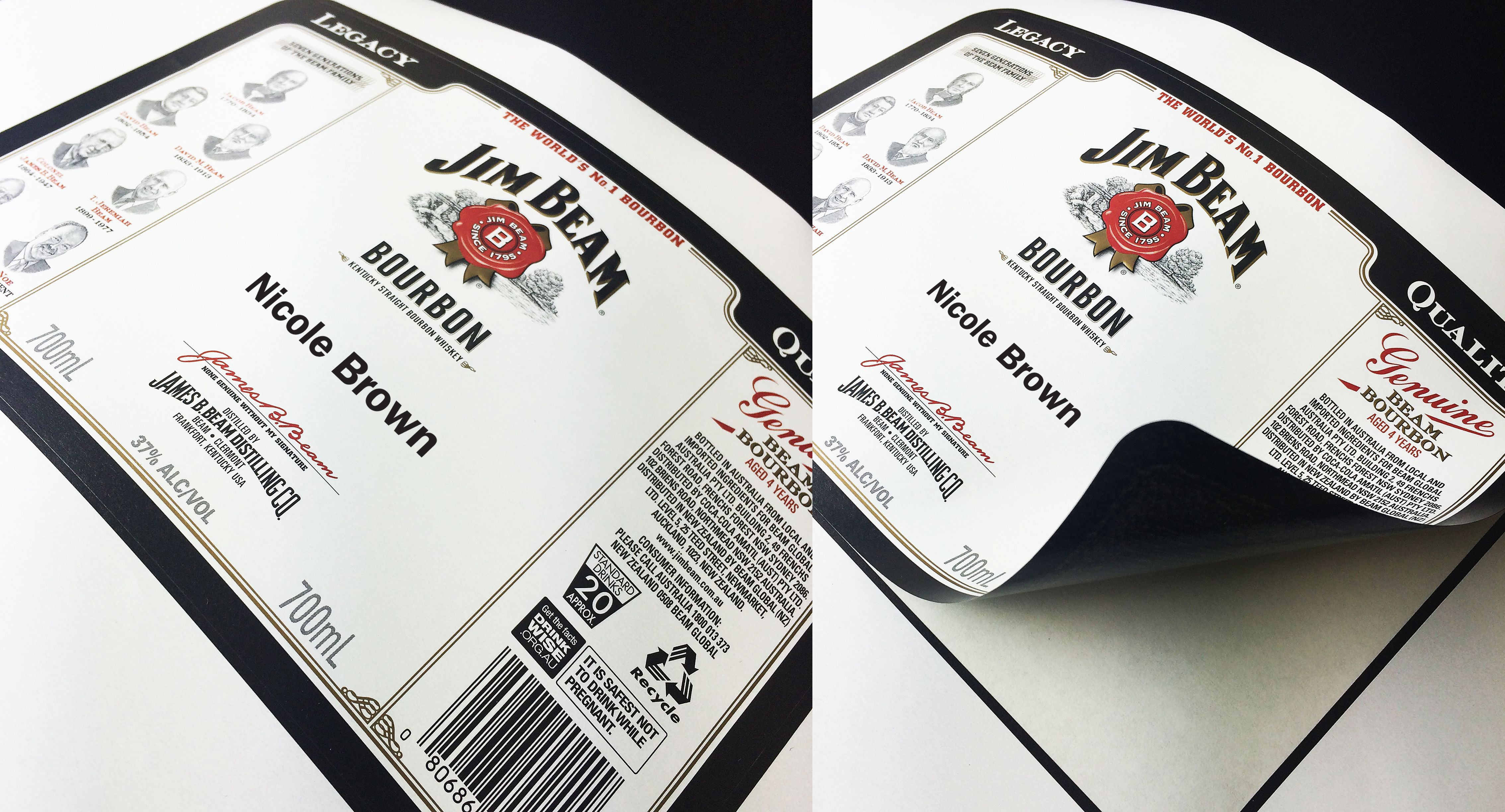 Personalised Labels For Jim Beam Bourbon Printed On Adestor Vellum Opaque By Clarke Murphy Print Personalized Labels Wine Boutique Cricut Tutorials
