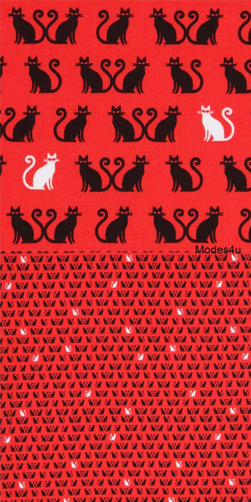 Red Robert Kaufman Small Cat Animal Fabric Tiny Happy Lucky Small Cat Fabric Robert Kaufman