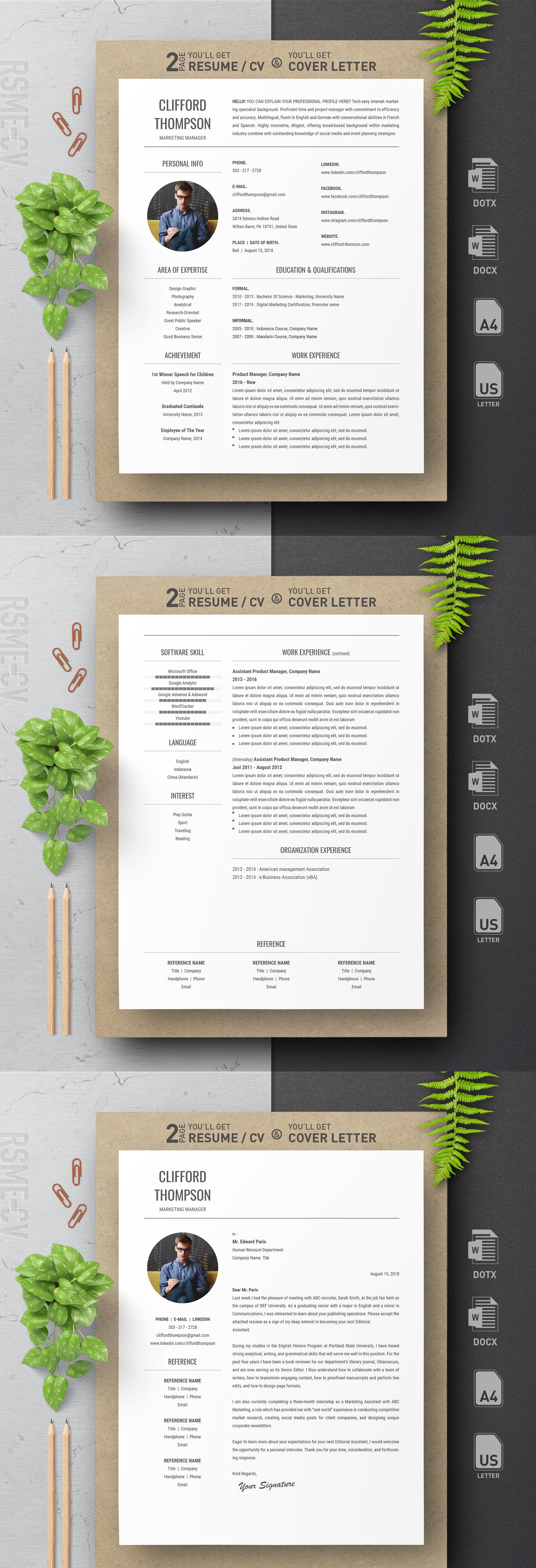 Black And White Simple Professional Clean Resume Template With Cover Letter For Microsoft Word 2018 Interior Design Resume
