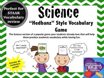 Science Hedbanz Style Vocabulary Game Staar Resource Science Vocabulary Vocabulary Games Science Vocabulary Games