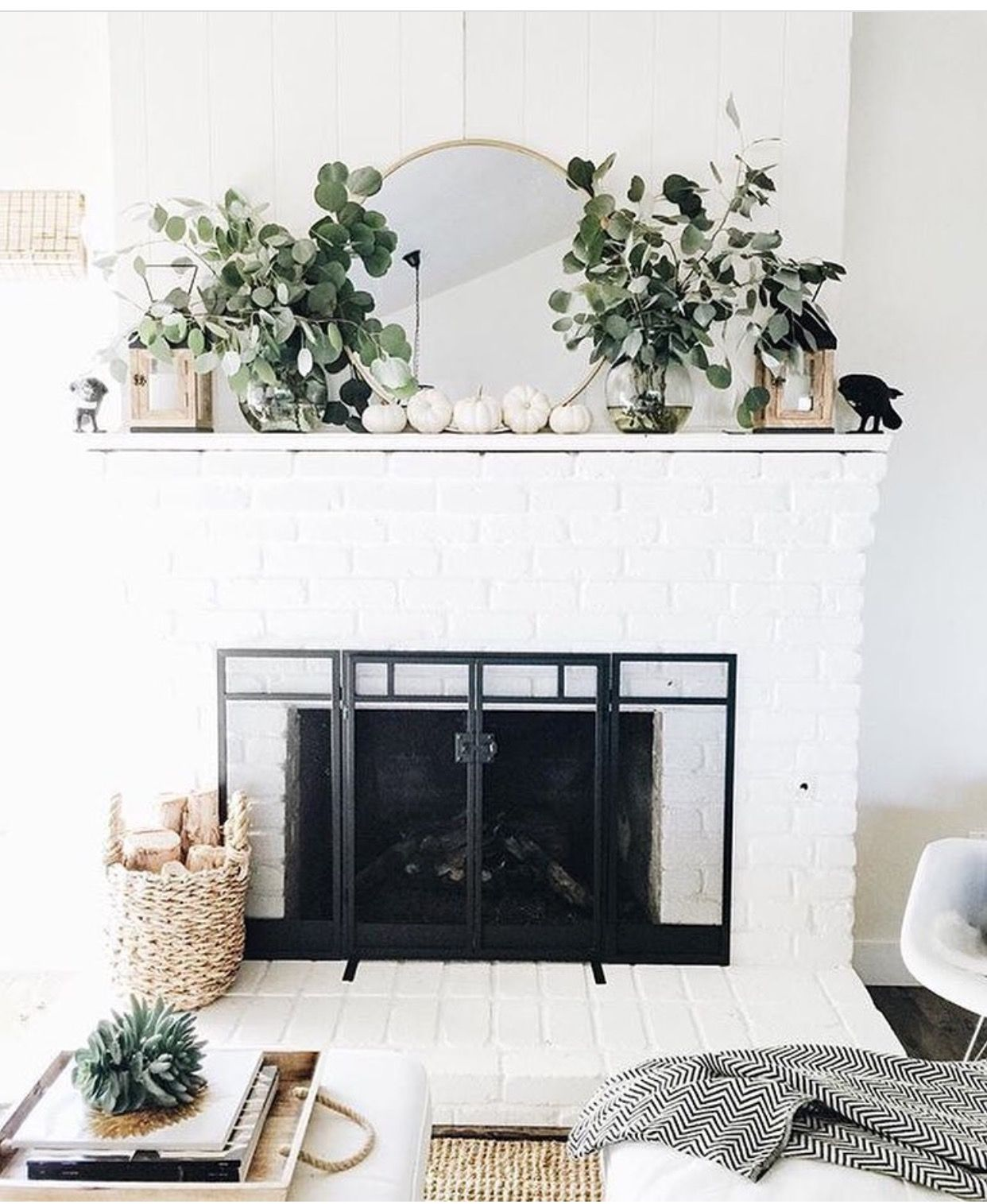 Pin By Aileen Allen On Home Makeover Inspo White Brick Fireplace Home Decor Fall Home Decor