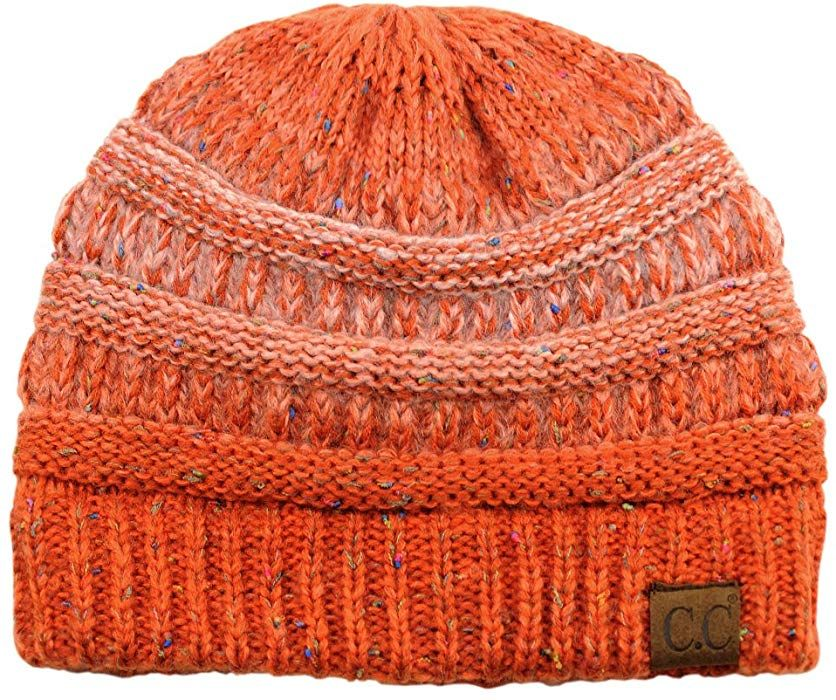 4687c9c4fc0 C.C Unisex Colorful Confetti Soft Stretch Cable Knit Beanie Skull Cap -  Ombre Orange at Amazon Women s Clothing store  Affiliate link.
