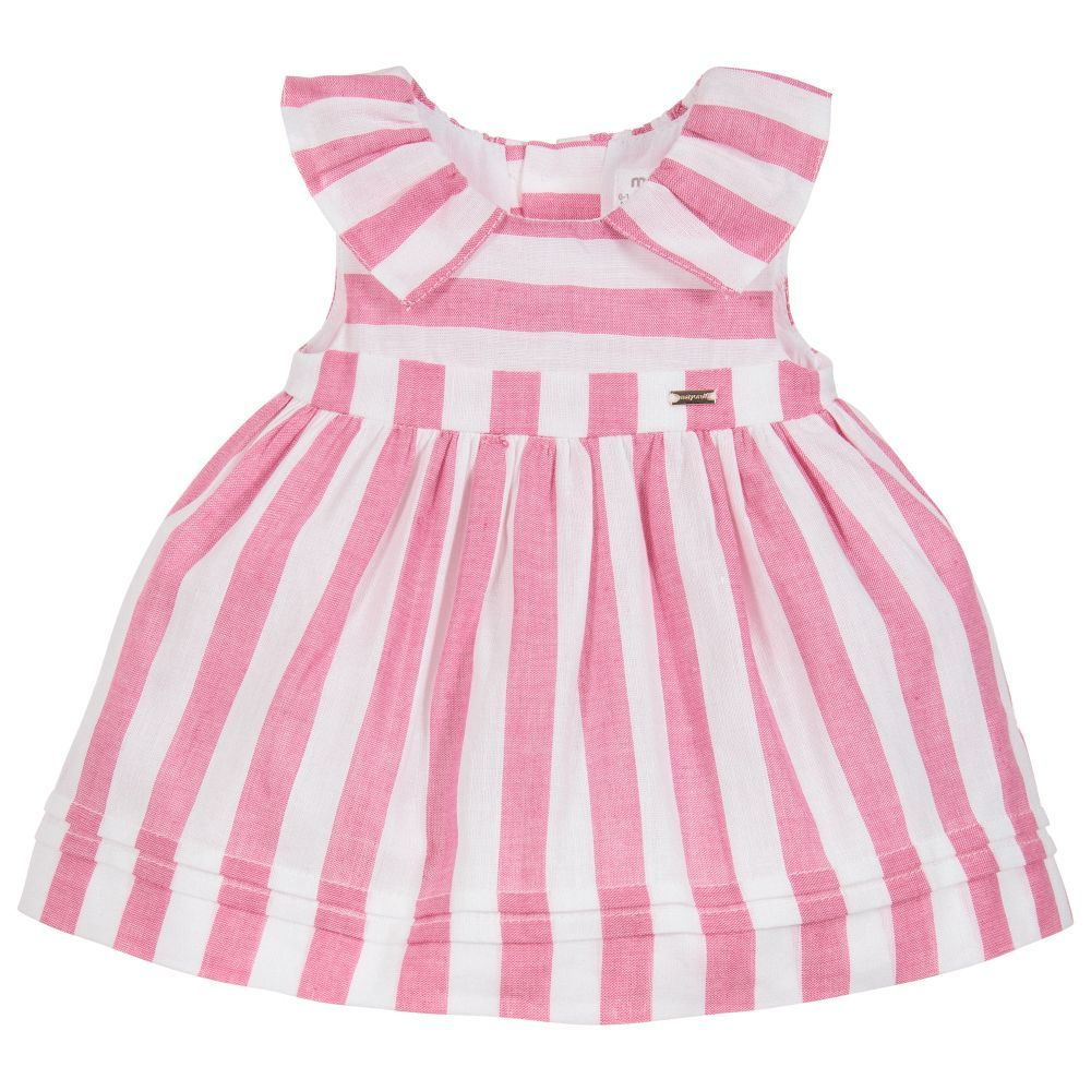 cf6eec5577ff Baby girls pink and white striped dress and knickers set from Mayoral  Newborn. Made in