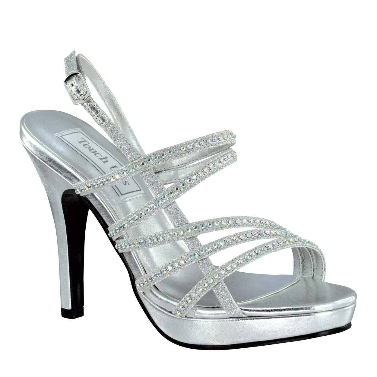 ef86397ee1d Silver Julie Rhinestone Formal Holiday Prom Woman S Strappy Platform Sandal  Shoe
