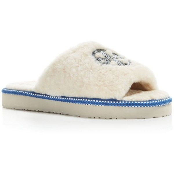 ba46b86ded1 Tory Burch Shearling Logo Slide Slippers ( 165) ❤ liked on Polyvore  featuring shoes and slippers