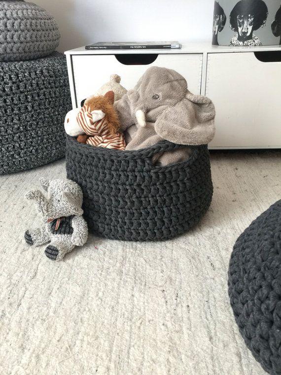 Toy Crochet Round Basket with Handles, Kids Storage Bin, Nursery Organizer Baskets, Medium Basket Bag, Eco Friendly Storage, Birthday Gift Children's room