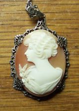 Shell Cameo Lady with Flower on Sterling Chain